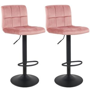Duhome Barhocker 2er Set Stoffbezug Samt rosa pink höhenverstellbar drehbar