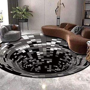 3D-Teppich, rutschfester 3D-Teppich mit optischer Täuschung, dreidimensionale schwarz-weiße Oberflächenmatte (100 x 100 cm)