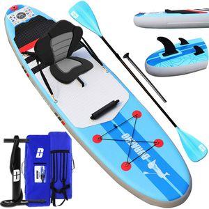 SUP Aufblasbares Stand Up Paddle Board Set Inclusive Verstellbares Doppel-Paddel, Rücksack, Hub-Luftpumpe mit Manometer, Abnehmbarer Sitz, Integrierte Kick-Pad, 3 Finnen, bis 110kg 305x76x15cm