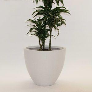 Pflanzkübel Fiberglas, rund konisch D70xH50cm perlmutt weiß.
