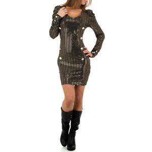 Ital-Design Damen Kleider Cocktail- & Partykleider Gold Gr.s