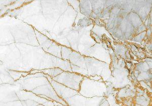 Vlies Fototapete Marmor (416x254cm - 4 Bahnen) gold grau Mauer Steinopik Steinwand Wohnzimmer Schlafzimmer Wandtapete Modern Tapete Latexdruck UV-Beständig Geruchsfrei Hohe Auflösung Montagefertig