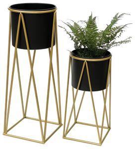 DanDiBo Blumenhocker mit Topf Metall Gold Schwarz 2er Set Blumenständer 96046 Blumensäule Modern Pflanzenständer Pflanzenhocker