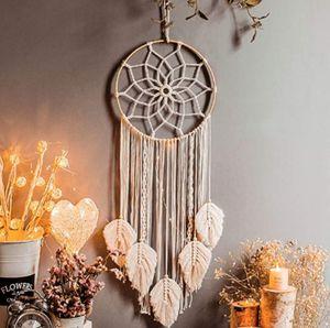 Traumfänger Dreamcatcher Handgefertigt, Großer Boho Traumfänger mit weißer Makramee 115*30cm