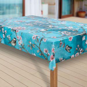 Wachstuch-Tischdecke Wachstischdecke Tischwäsche Abwaschbar Wachstuchdecke |64|, Muster:Kirschblüte, Größe:130x130 cm