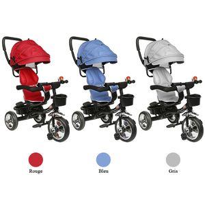 WYCTIN  Dreirad Kinderdreirad 4 in 1 Lenkstange Fahrrad Baby Kinderwagen hellgrau