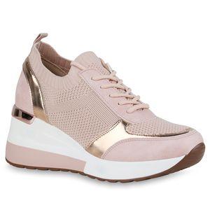 Giralin Damen Sneaker Keilabsatz Schnürer Profil-Sohle Schuhe 836552, Farbe: Altrosa Rose Gold Metallic, Größe: 40