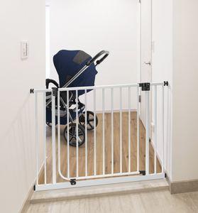 IMPAG Schutzgitter XXL mit 75 cm Türbreite | 115 bis 123 cm Anthrazit | Treppenschutzgitter | Türschutzgitter| ohne Bohren | Automatik-Tür | 90° Feststell-Funktion