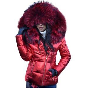 Mode Frauen Winter Hals Kapuze Daunen Warmer Mantel Daunenjacke Windbreaker Mantel Größe:XL,Farbe:Rot