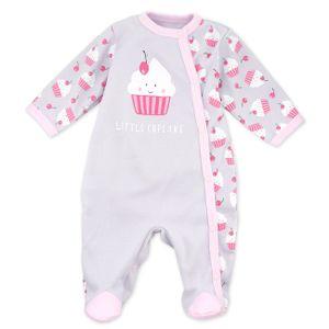 Baby Sweets Mädchen Strampler Schlafanzug grau rosa Little Cupcake Newborn (56)