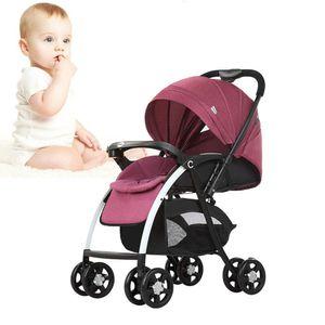 Kinderwagen aus Kohlenstoffstahl Höhen und Rückenlehne Verstellbarer 4- Radaufhängung Landschaftsfaltung für Babys von 0 bis 3 Jahren Weinrot