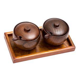 1 satz Holz Zuckerdose Zuckerschüssel Gewürzdose Zuckerschale mit Deckel und Löffel