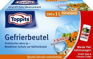 Toppits Gefrierbeutel mit 3-Schicht-Spezialfolie 100 x 1L