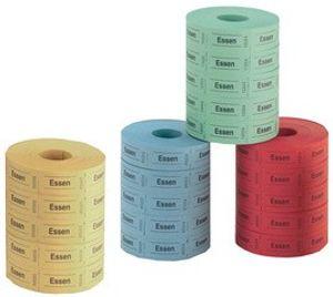 Herlitz Essenmarken 30 x 55 mm zufällige Farbe 5 Rollen á 1.000 Abrisse
