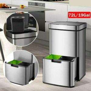 72L Automatik Sensor Müllbehälter Abfalleimer Kücheneimer Recycling Papierkorb Abfallbehälter