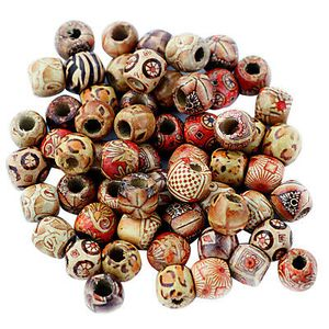 200 Stück große Loch Holzperlen für Makramee Schmuck Charms Crafts Making