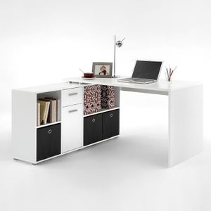 FMD furniture 353-001 Schreibtisch-Winkelkombination in Ausführung Weiß, Maße Tisch ca. 136 x 74,5 x 67 cm / Maße Regal ca. 136 x 70,5 x 33 cm (BxHxT)