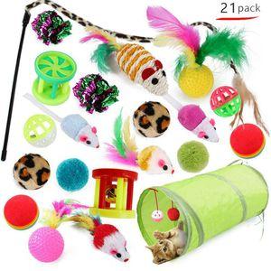 21Pcs Cute Katzenspielzeug Haustier Set Katzentunnel Faltbar Bällen Mäusen Feder