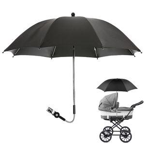 Sonnenschutz Kinderwagen Sonnenschirm, Kinderwagen Universal Regenschirm, mit 360 ° biegbaren Halterung (schwarz)