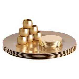 Argon Ta 18 Stück Metallic Ladegerät Teller Set - Fine Dining Luxe Tisch unter Teller Untersetzer Serviettenringe - Gold