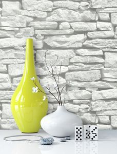 Steintapete Ziegelstein Grau Weiß Papier Landhaus Landhaus Modern Jung Mauer Stein  Lennon Weiß