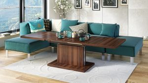 Design Couchtisch Tisch Aston Nussbaum Walnuss stufenlos höhenverstellbar ausziehbar 120 bis 200cm Esstisch