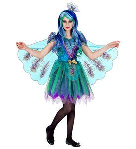 2-teiliges Pfau Kinder Kostüm für Mädchen Kleid Haarreifen, Größe:158 - 11 bis 13 Jahre