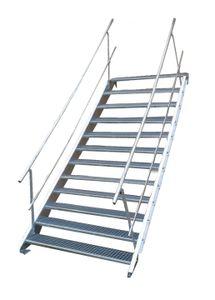 Stahltreppe 12 Stufen-Breite 70cm Variable-Höhe 180-240cm beidseit. Geländer