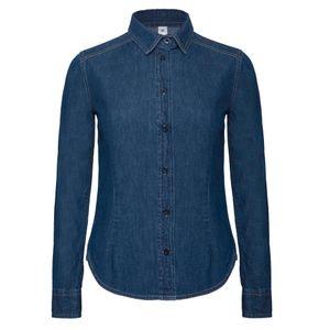 B&C Denim Damen Hemd / Jeanshemd Vision, Langarm RW3045 (L) (Dunkelblau Denim)