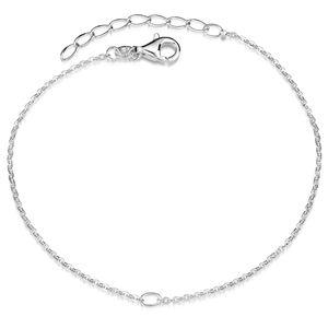 MATERIA Charms Armband Silber 925 mit Öse und Karabiner Verschluss - Damen Armkette 18-21cm verstellbar SA-123-Silber