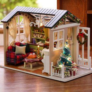 DIY Weihnachten Miniatur Puppenhaus Kit Realistische Mini 3D Holzhaus Zimmer Handwerk mit Moebel LED-Leuchten Kindertag Geburtstagsgeschenk Weihnachtsdekoration