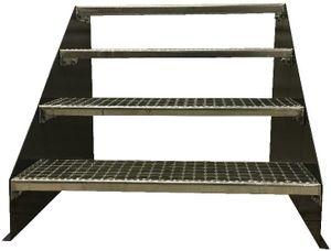 4 stufige freistehende Stahltreppe Standtreppe Breite 60cm / Geschosshöhe 84cm Schwarz