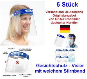 5 Stück Transparent Face Shield mit Anti-Spritzmaske Anti-Speichel Gesichtsschutz
