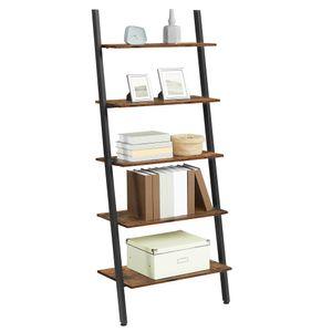 VASAGLE Bücherregal mit 5 Ebenen | Vintage Metallrahmen 186 x 64 x 34 cm | im Industrie-Design stabil schräg Leiterregal | dunkelbraun LLS46BX