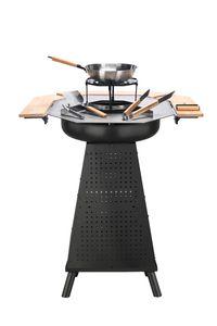 Holzkohlegrill + Fuerstelle von EL Fuego® 2-in-1, Grill mit Plancha Platte, mit Wok und Topfsteller