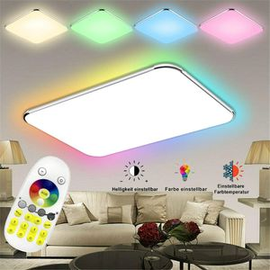 LZQ 48W Ultraslim LED Deckenleuchte Flur Wohnzimmer Kinderzimmer Wand-Deckenlampe Schlafzimmer Küche Licht(48W RGB)