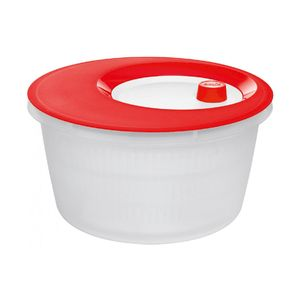 Emsa Basic Salatschleuder, Transluzent Rot/Weiß, 4,0 L, 505089