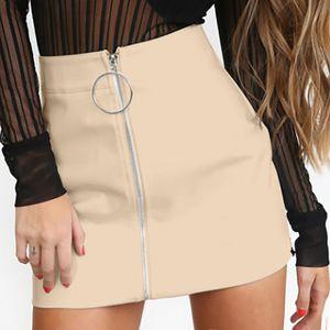 Damenmode Einfarbig Hohe Taille Reißverschluss Freizeittasche Hüftrock Farbe:Gelb,Größe:XL