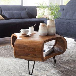WOHNLING Couchtisch WL5.603 Sheesham massiv Holz 55 x 55 x 38 cm Ablage & Metallgestell | Retro Wohnzimmertisch Massivholz braun | Sofatisch modern Holztisch | Tisch mit Fach Wohnzimmer