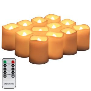 Monzana 12 LED Kerzen mit Timer Fernbedienung Elektrische Flackernde Batteriebetriebene Kerzen Dimmbar 4x4,5 cm Warmweiß