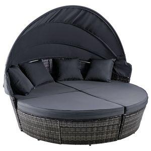 Crenex Gartenset Möbel Gartenmöbel Lounge Set 4 Stk Sonneninsel Sitzgruppe mit Dach Polyrattan Rattanmöbel