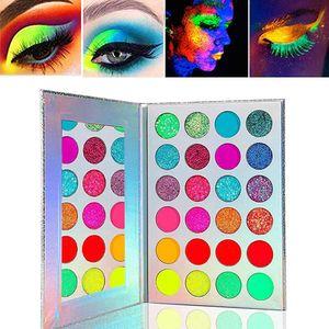 Lidschatten Palette Neon Luminous Glitter, Grow in Makeup Eyeshadow Palette Matt Glitzer,für Augen/Gesicht/Körper/Festival,Hochpigmentierte Eye Shadow Schminke 24 Farben