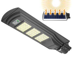 ECD Germany LED Solar Straßenlampe 60W mit Lichtsteuerung und Radar-Sensor - 60 LEDs - Kaltweiß  - Wasserdicht IP65 - für Outdoor Garten Wege Einfahrten - Straßenlaterne Straßenleuchte Solarleuchte