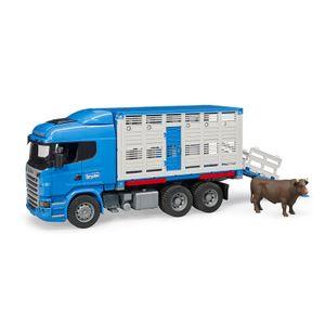 Bruder 3549 Scania R-Serie Tiertransport - Lkw mit Einem Rind, Blau