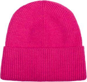 styleBREAKER Uni Strickmütze mit Rippenmuster und breiter Krempe, Feinstrick Mütze doppelt gestrickt, Strick Beanie 04024190, Farbe:Pink