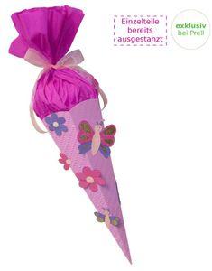 Schultüte Bastelset Schmetterling-Blume vorgestanzt,
