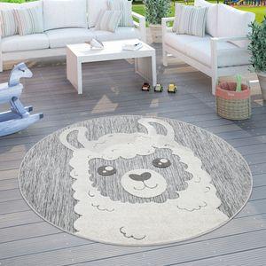 Kinderteppich Kinderzimmer Outdoorteppich Rund Spielteppich 3D Effekt Lama Grau, Grösse:Ø 160 cm Rund
