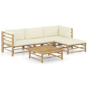 Mllaid 5-tlg. Garten-Lounge-Set mit Cremewei?en Kissen Bambus