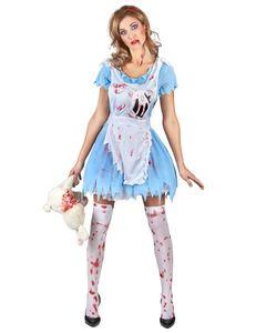 Alice-Horrorkostüm Halloween-Damenkostüm blau-weiss