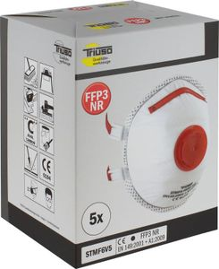 TRIUSO Feinstaubmaske FFP3, SB-Box, 5 Stück, FFP3 - STMF6V5